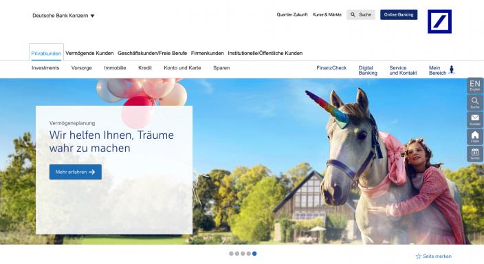 Beispiel Karussell bzw. Homepage-Slider bei Deutschebank.de