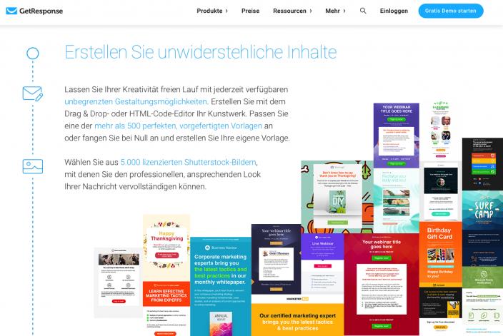 Screenshot Newsletter-Anbieter GetResponse