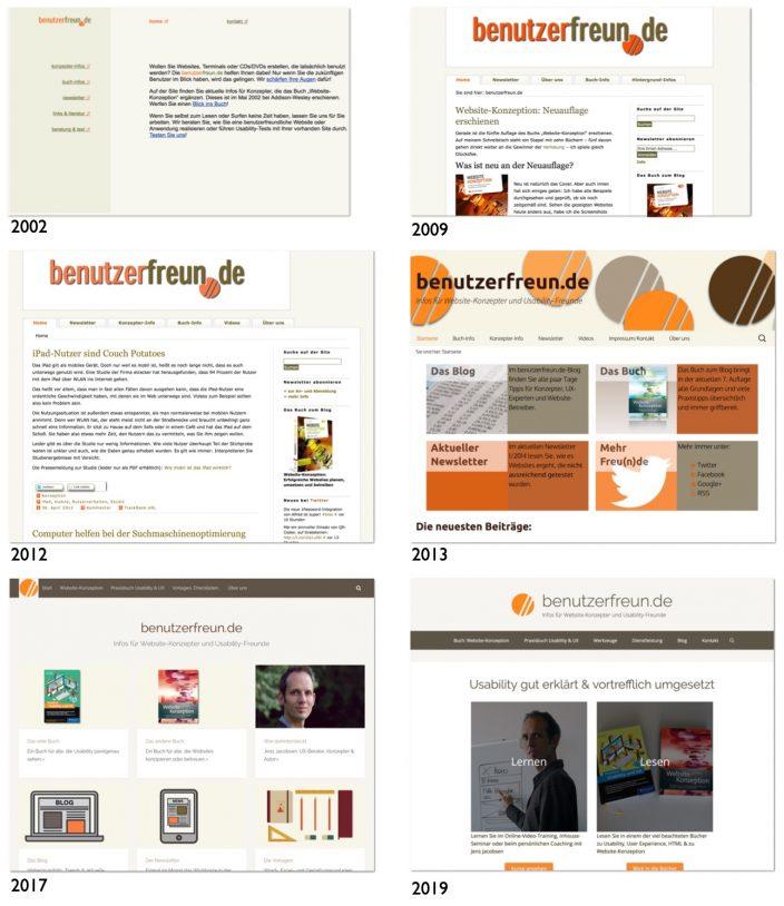 Entwicklung der Site benutzerfreun.de über die Jahre