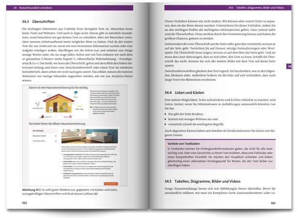 Beispielseiten aus dem Praxisbuch Usability und UX