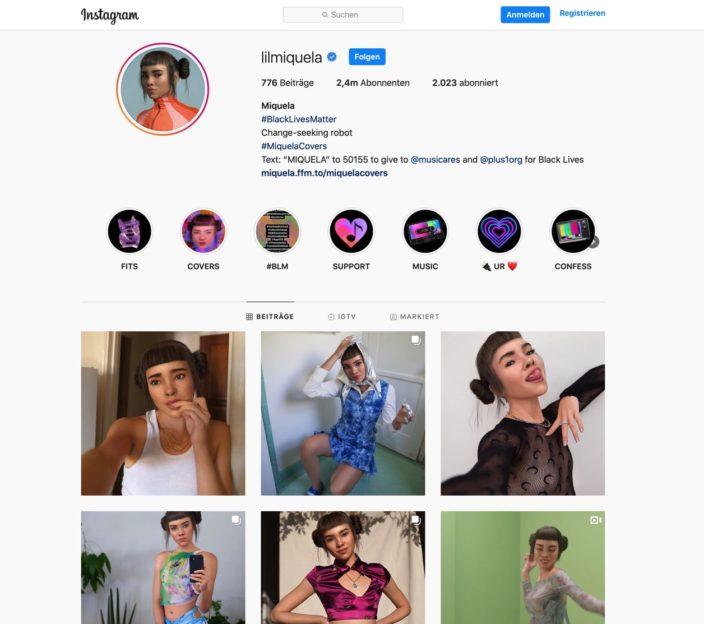 Influencer auf Instagram Screenshot