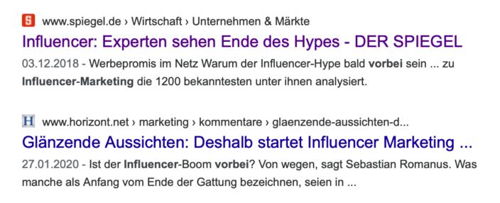 Screenshot Suchergebnisse Influencer