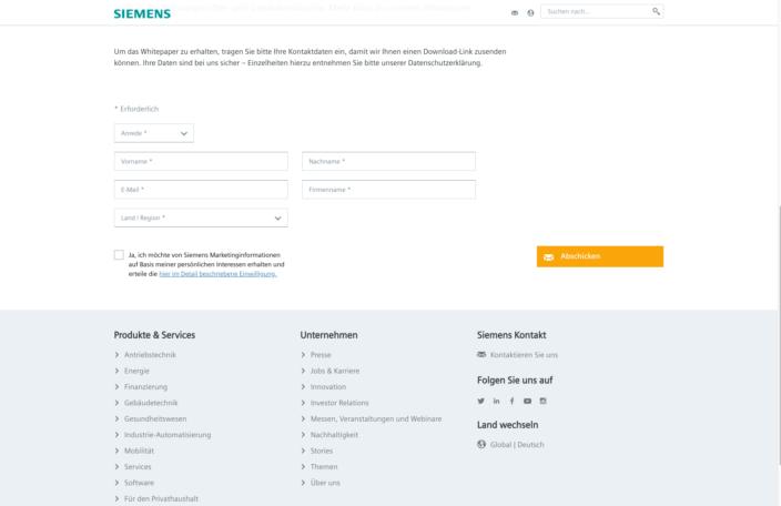 Screenshot LandingPage Lead-Generierung Siemens
