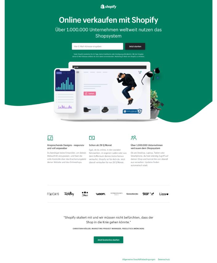 Screenshot LandingPage Shopify