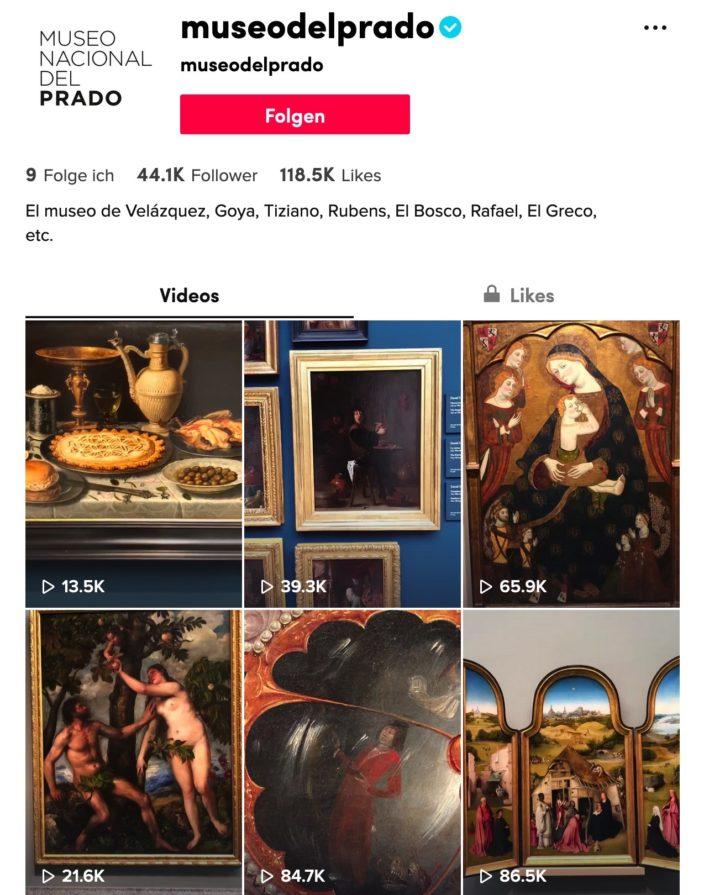 Beispiel TikTok Museen / Prado