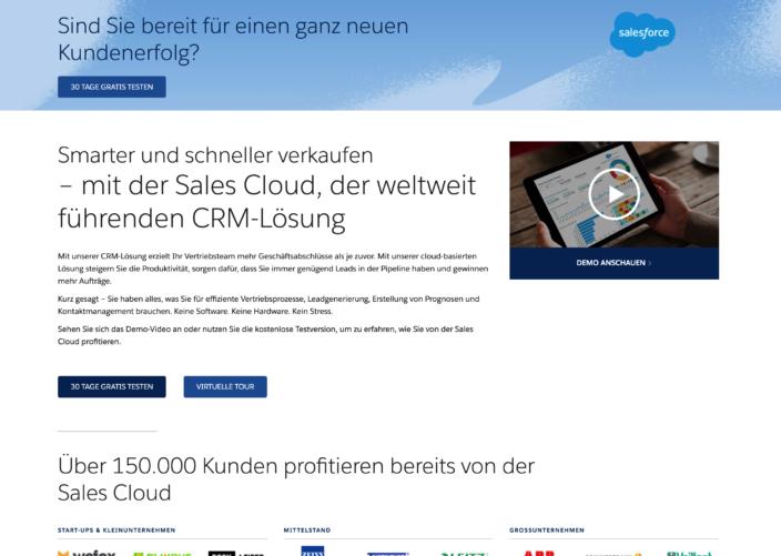 Beispiel Landing Page Salesforce