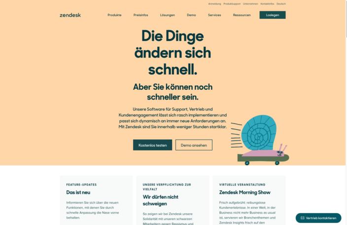 Beispiel Landing Page Zendesk