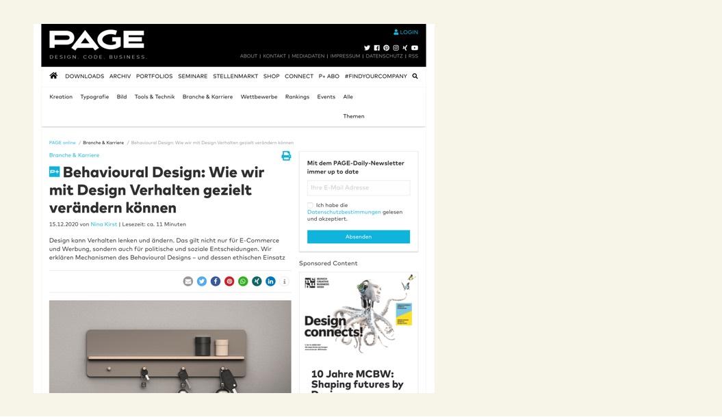 Vorschaubild Beitrag Behavioural Design Page