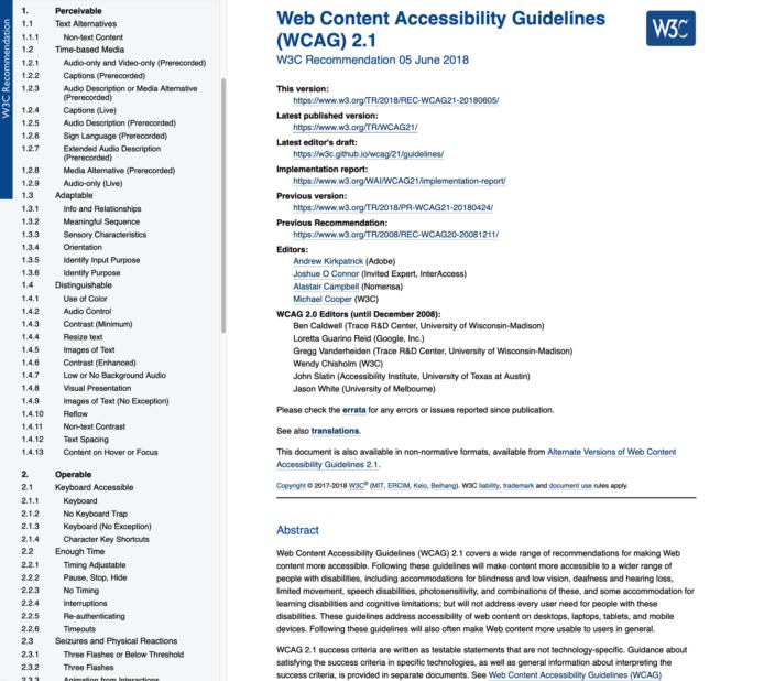 Web Content Accessibility Guidelines (WCAG) Screenshot Website Kriterien Barrierefreiheit