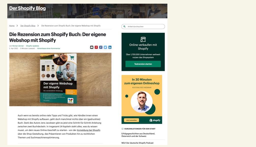 Vorschaubild Rezension Shopify-Buch